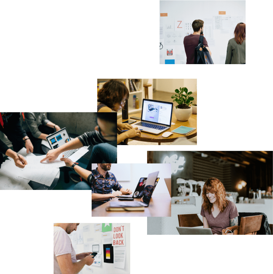 A collage of images showing people coding and learning